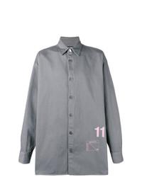 Мужская серая рубашка с длинным рукавом с принтом от Raf Simons