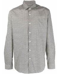 Мужская серая рубашка с длинным рукавом с принтом от Salvatore Ferragamo
