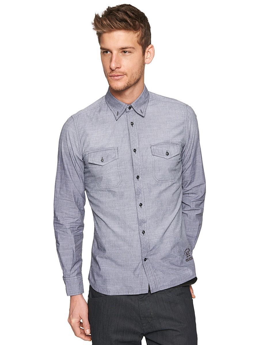 d537f2bdf1c ... Мужская серая рубашка с длинным рукавом от Tom Tailor ...