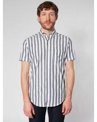 Серая рубашка с коротким рукавом в вертикальную полоску