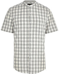 Серая рубашка с коротким рукавом в мелкую клетку