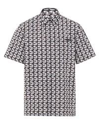 Мужская серая рубашка с коротким рукавом с геометрическим рисунком от Prada