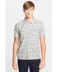 Серая рубашка с коротким рукавом с принтом