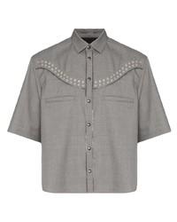 Мужская серая рубашка с коротким рукавом от NULABEL
