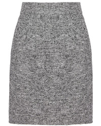 Серая твидовая юбка-карандаш