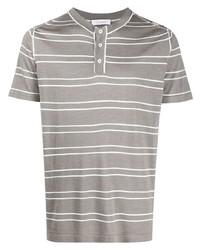 Мужская серая футболка на пуговицах в горизонтальную полоску от Cruciani