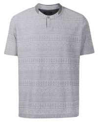 Мужская серая футболка на пуговицах с принтом от D'urban