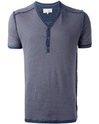 Мужская серая футболка на пуговицах