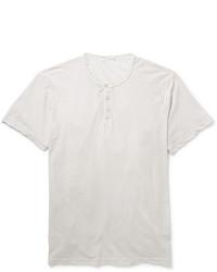 Мужская серая футболка на пуговицах от James Perse