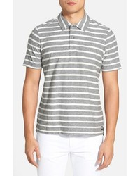 Серая футболка-поло в горизонтальную полоску
