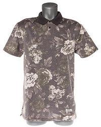 Серая футболка-поло с цветочным принтом