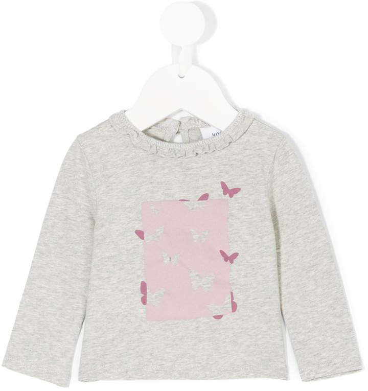 Детская серая футболка с длинным рукавом с принтом для девочке