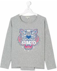 Детская серая футболка с длинным рукавом с принтом для девочке от Kenzo