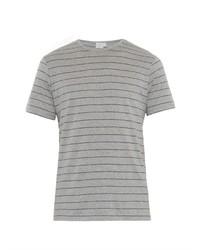 Серая футболка с круглым вырезом в горизонтальную полоску