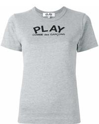 Женская серая футболка с круглым вырезом с принтом от Comme des Garcons