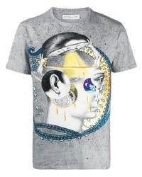 Мужская серая футболка с круглым вырезом с принтом от Etro