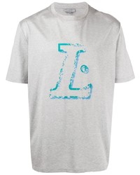 Мужская серая футболка с круглым вырезом с принтом от Lanvin