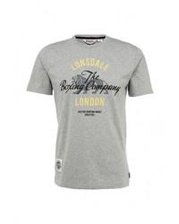 Мужская серая футболка с круглым вырезом с принтом от Lonsdale