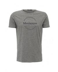 Мужская серая футболка с круглым вырезом с принтом от Matinique