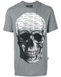 Мужская серая футболка с круглым вырезом с принтом от Philipp Plein