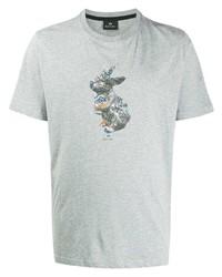 Мужская серая футболка с круглым вырезом с принтом от PS Paul Smith