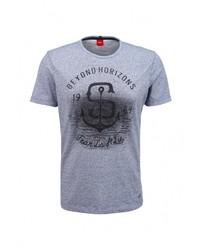 Мужская серая футболка с круглым вырезом с принтом от s.Oliver