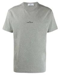 Мужская серая футболка с круглым вырезом с принтом от Stone Island