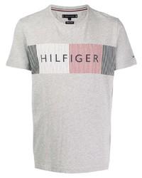 Мужская серая футболка с круглым вырезом с принтом от Tommy Hilfiger