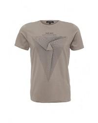 Мужская серая футболка с круглым вырезом с принтом от Top Secret