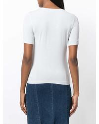 Женская серая футболка с круглым вырезом от Le Tricot Perugia