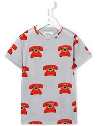 Детская серая футболка с принтом для мальчику