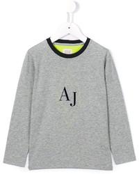 Детская серая футболка с принтом для мальчику от Armani Junior