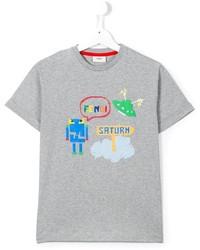 Детская серая футболка с принтом для мальчику от Fendi
