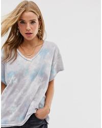 Женская серая футболка с v-образным вырезом с принтом тай-дай от Free People
