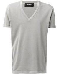 серая футболка с v образным вырезом original 384030