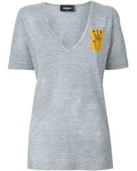 Женская серая футболка с v-образным вырезом от Dsquared2