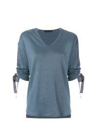 Женская серая футболка с v-образным вырезом от Fabiana Filippi