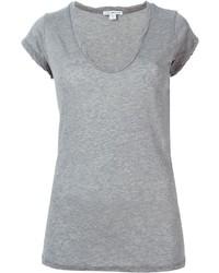 Женская серая футболка с v-образным вырезом от James Perse