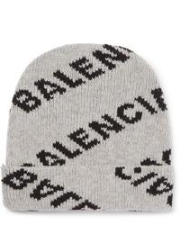 Мужская серая шапка с принтом от Balenciaga