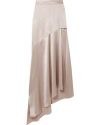 Серая шелковая длинная юбка