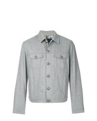 Серая шерстяная куртка-рубашка