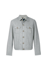 Мужская серая шерстяная куртка-рубашка от Jacob Cohen