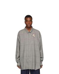 Мужская серая шерстяная рубашка с длинным рукавом в шотландскую клетку от Gucci