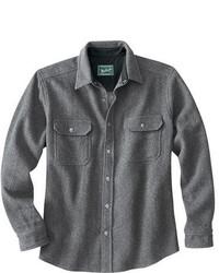 Серая шерстяная рубашка с длинным рукавом