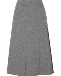 Серая шерстяная юбка-миди