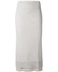 Серая шерстяная юбка-миди от Victoria Beckham