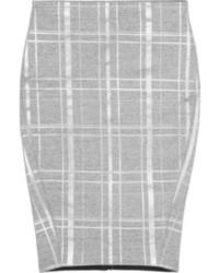 Серая юбка-карандаш в шотландскую клетку
