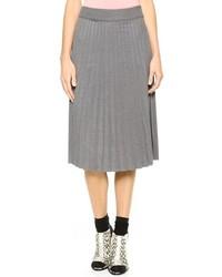 Серая юбка-миди со складками