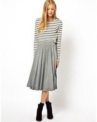 Серая юбка-миди со складками от Asos