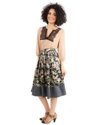 Серая юбка-миди с цветочным принтом